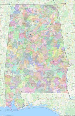Alabama ZIP Codes Map thumbnail