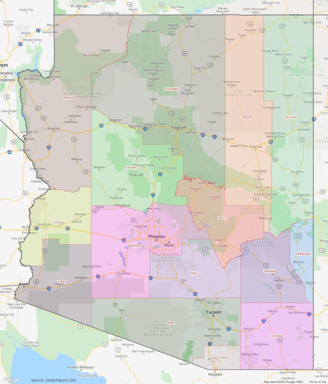 Map of Arizona County Map