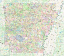 Arkansas Civil Township Boundaries Map thumbnail