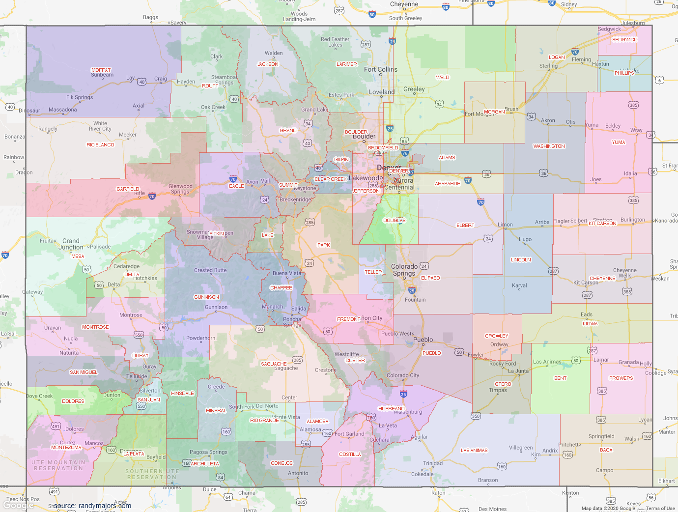 Map of Colorado County Map