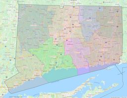 Connecticut County Lines Map thumbnail