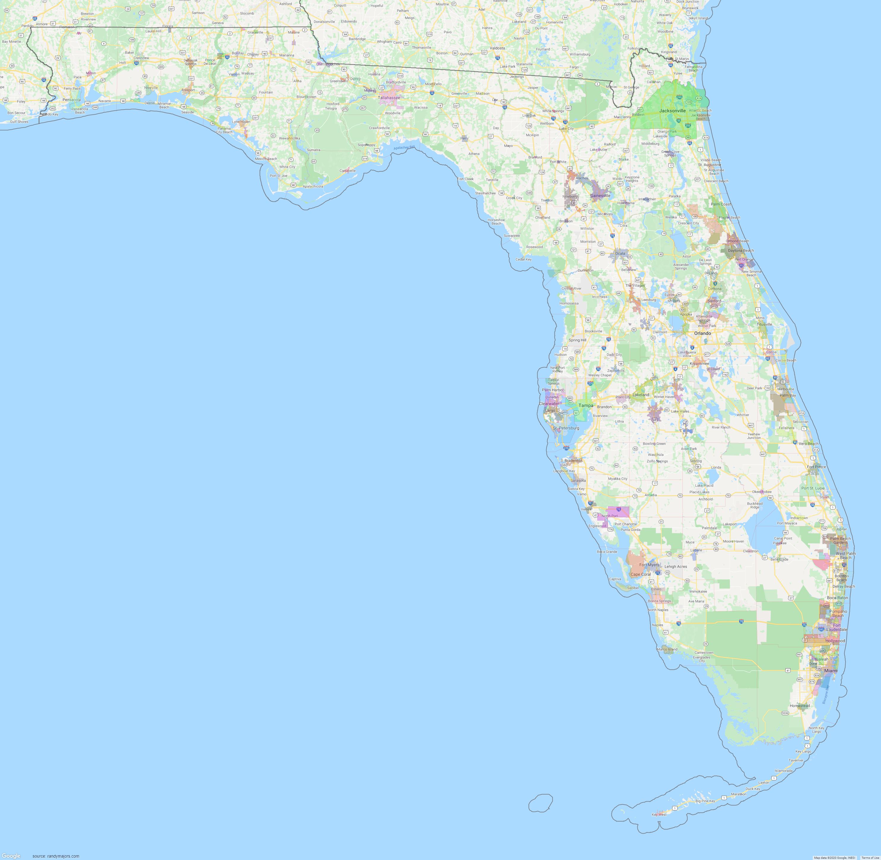 Map of Florida City Limits Map