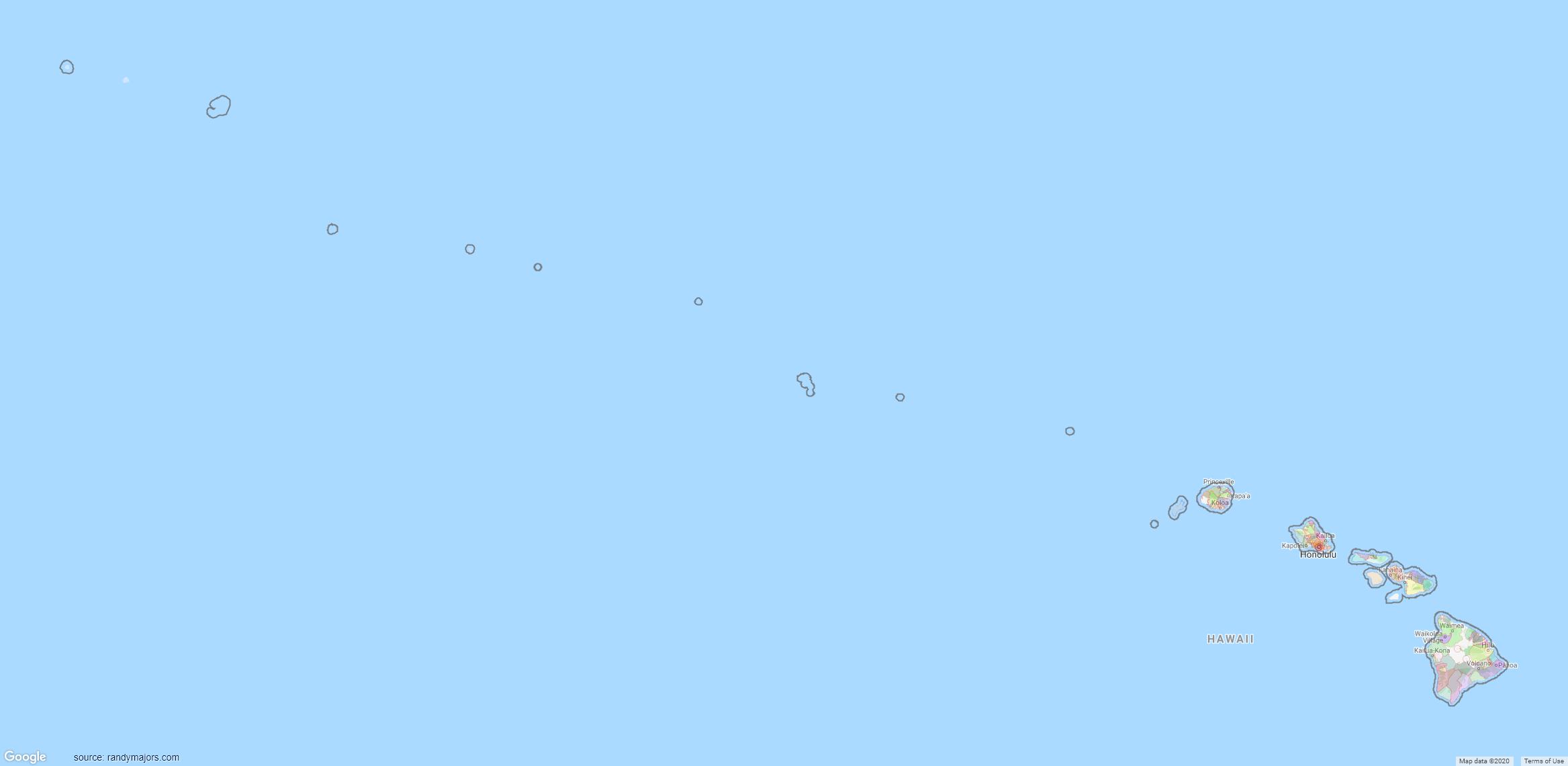 Map of Hawaii ZIP Code Map