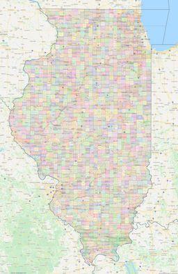 Illinois Civil Township Boundaries Map thumbnail