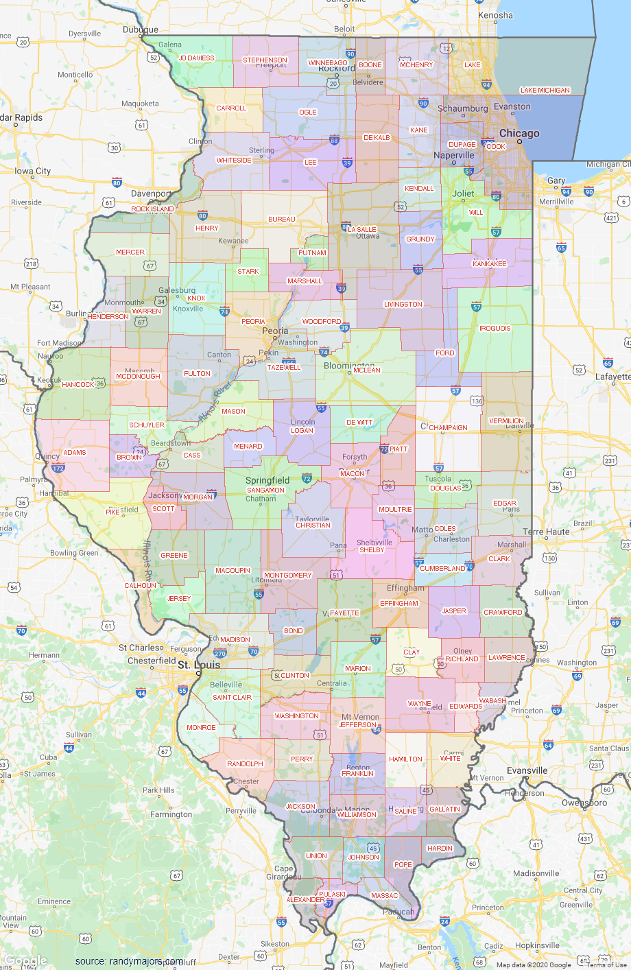 Map of Illinois County Map