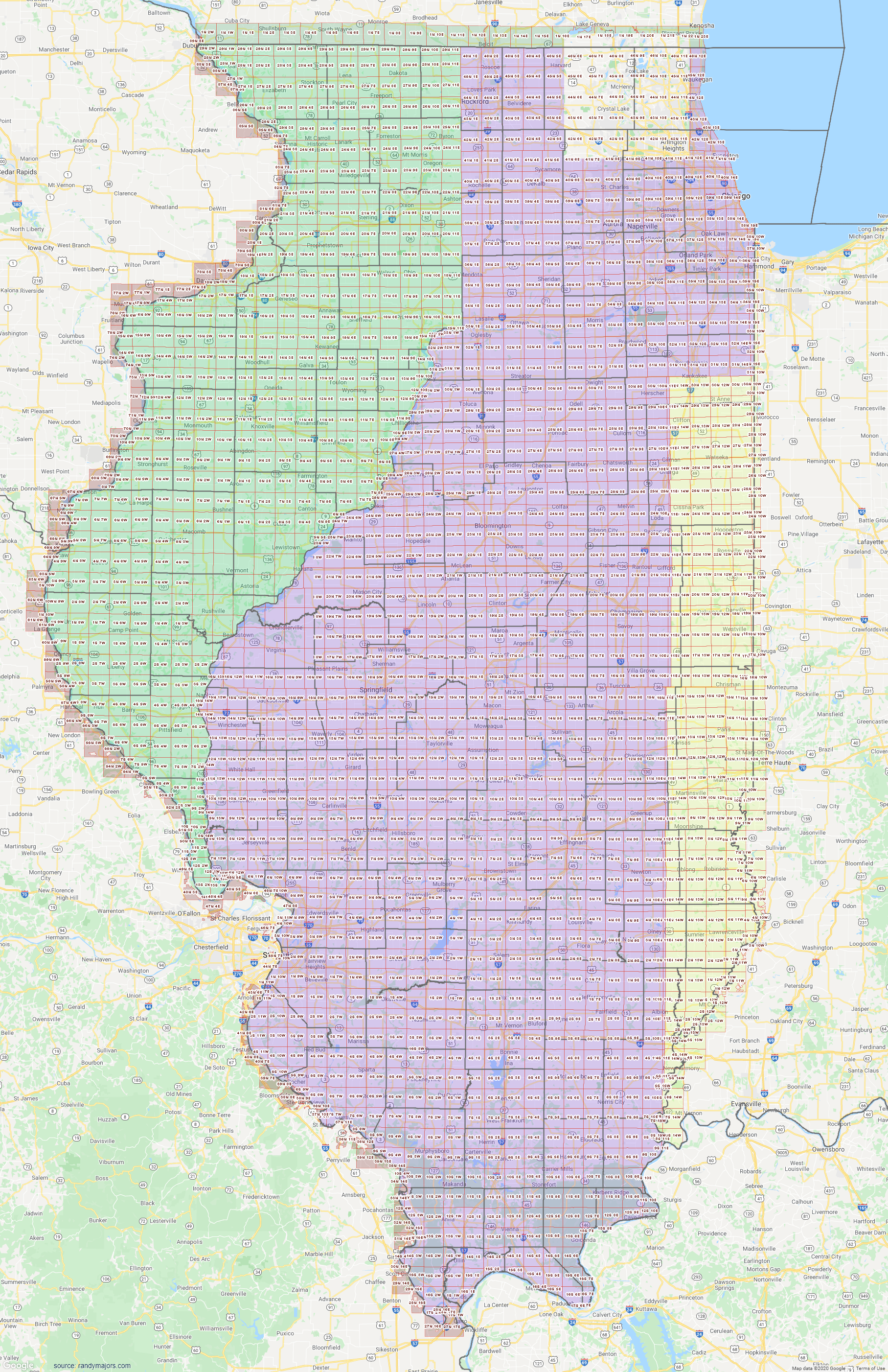 Map of Illinois Section Township Range Map
