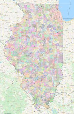 Illinois ZIP Codes Map thumbnail