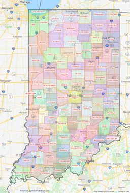 Indiana County Lines Map thumbnail