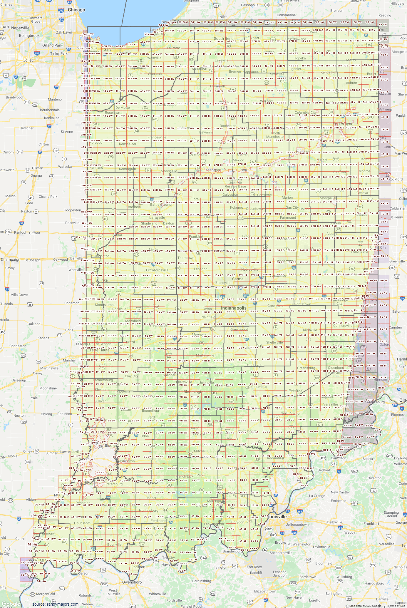 Map of Indiana Section Township Range Map