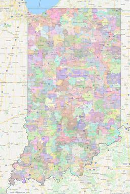 Indiana ZIP Codes Map thumbnail