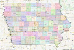 Iowa County Lines Map thumbnail
