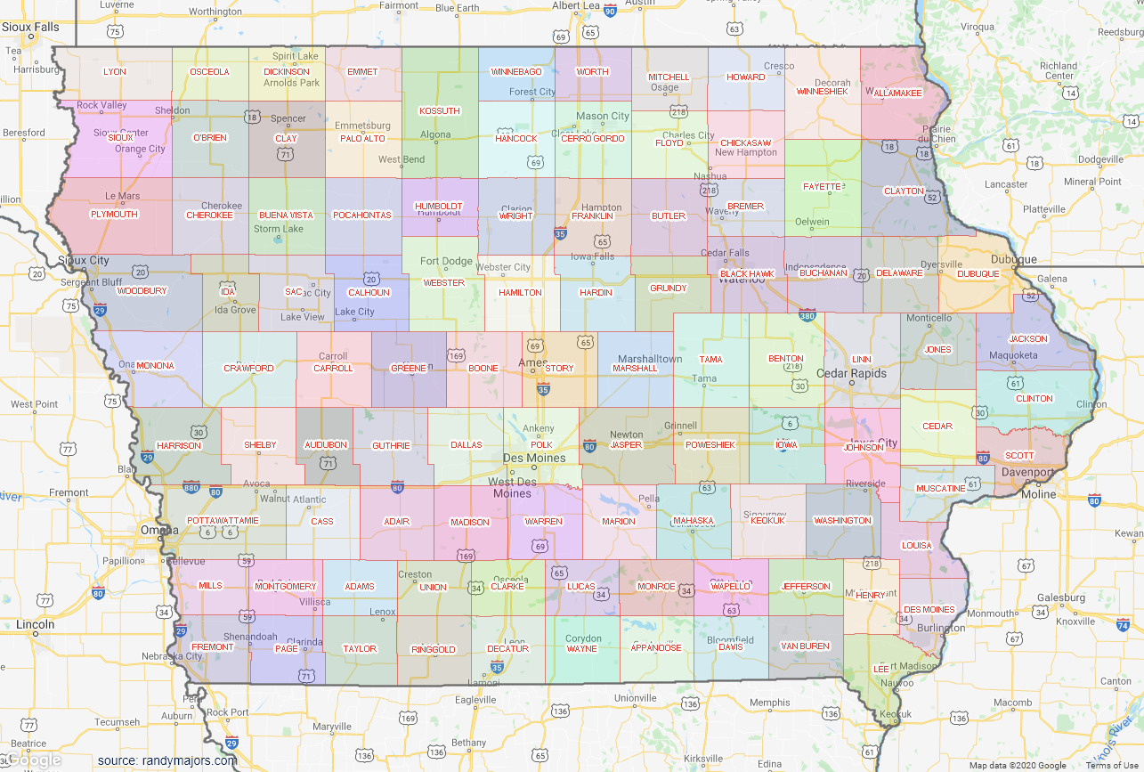 Map of Iowa County Map