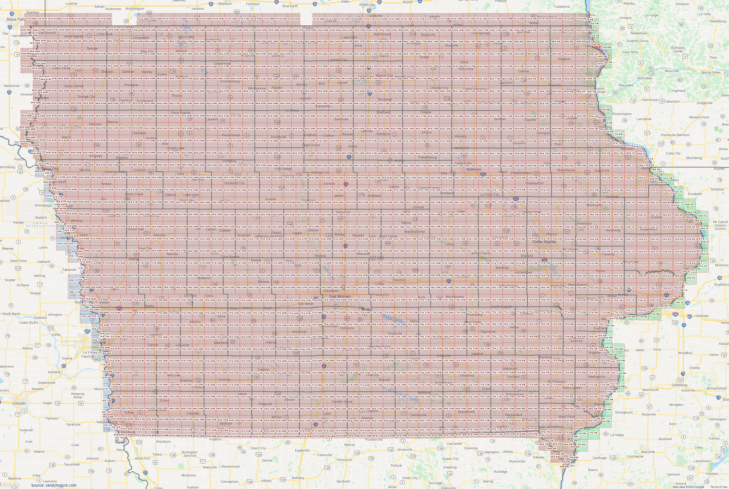 Map of Iowa Section Township Range Map