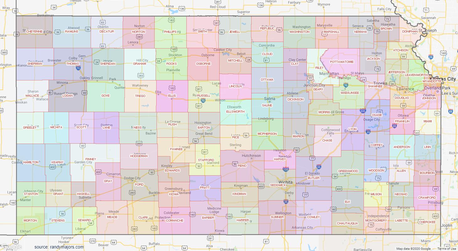 Map of Kansas County Map