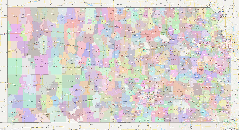Map of Kansas ZIP Code Map