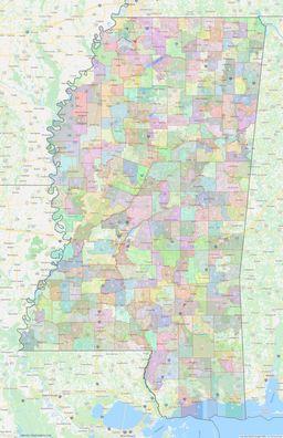 Mississippi Civil Township Boundaries Map thumbnail