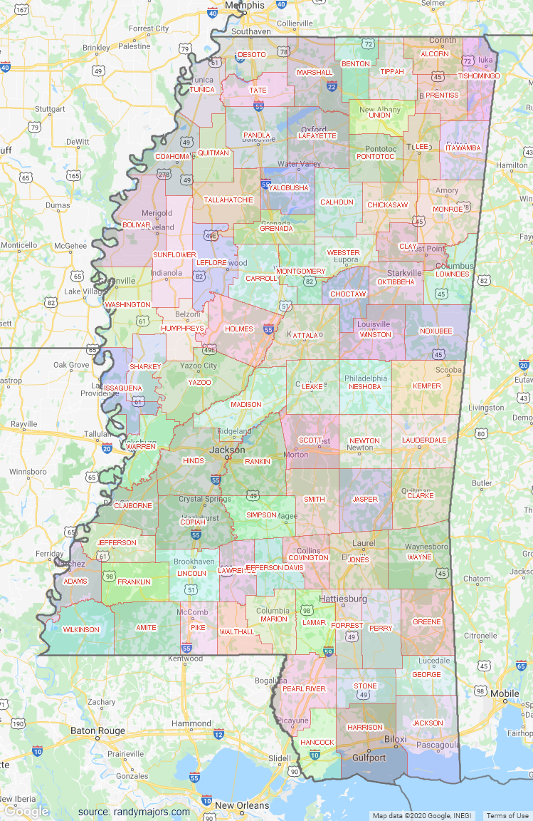 Map of Mississippi County Map