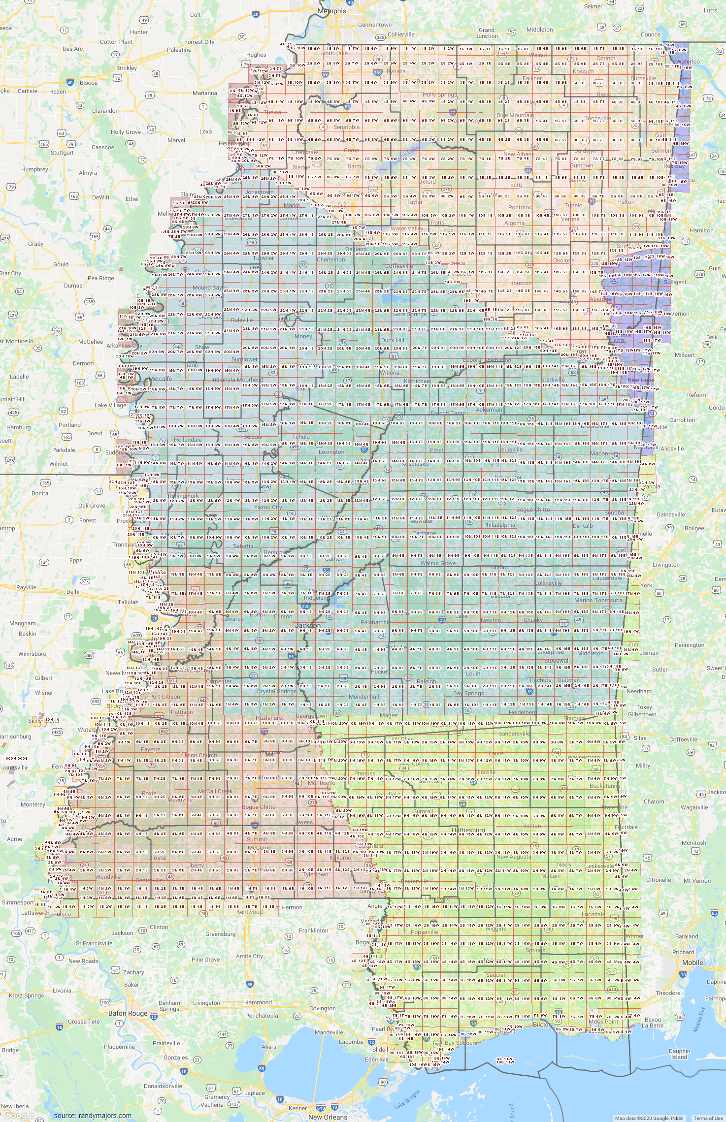 Map of Mississippi Section Township Range Map
