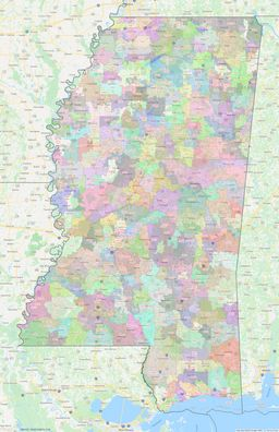 Mississippi ZIP Codes Map thumbnail