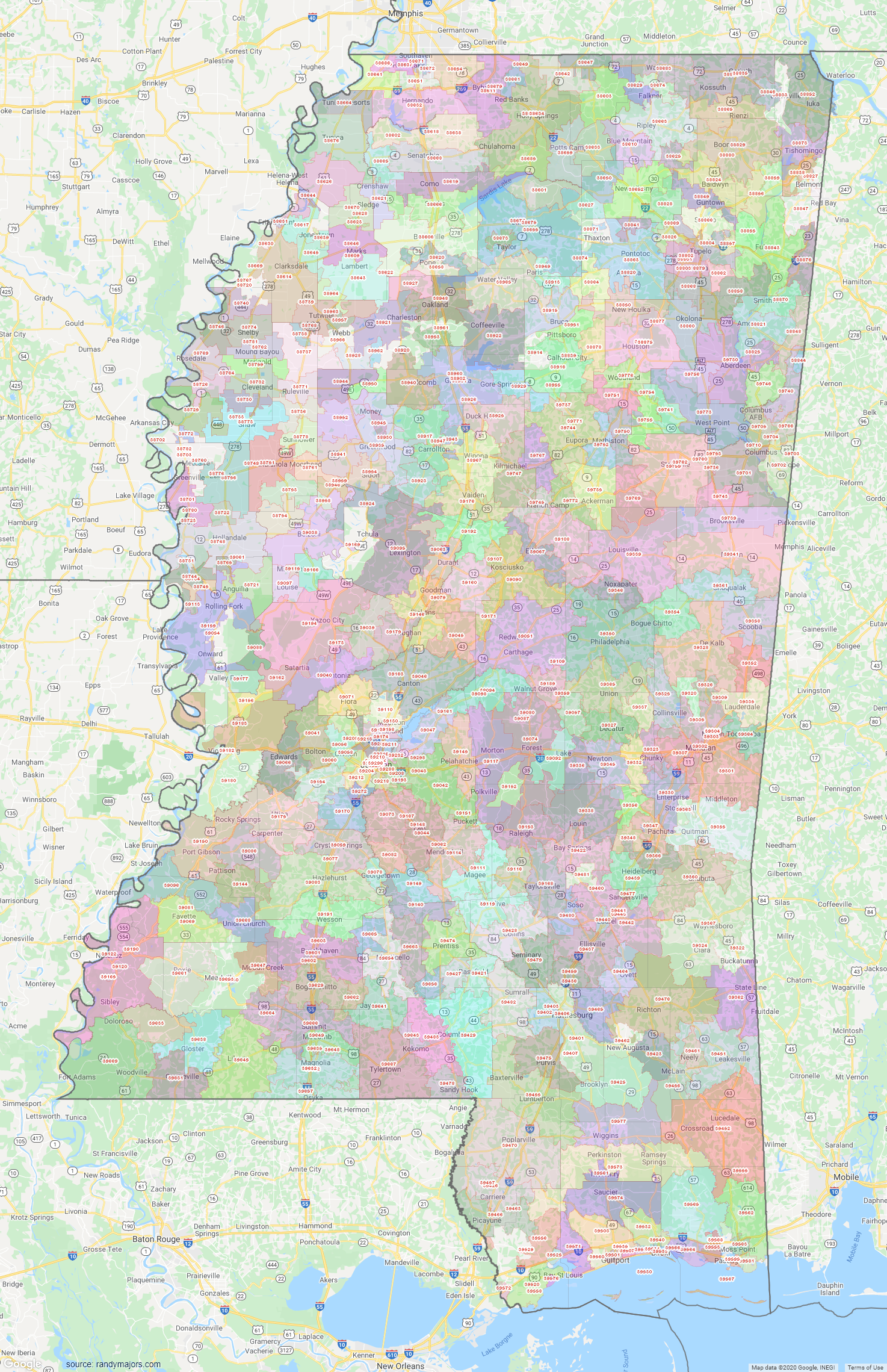 Map of Mississippi ZIP Code Map