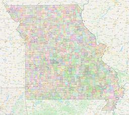 Missouri Civil Township Boundaries Map thumbnail