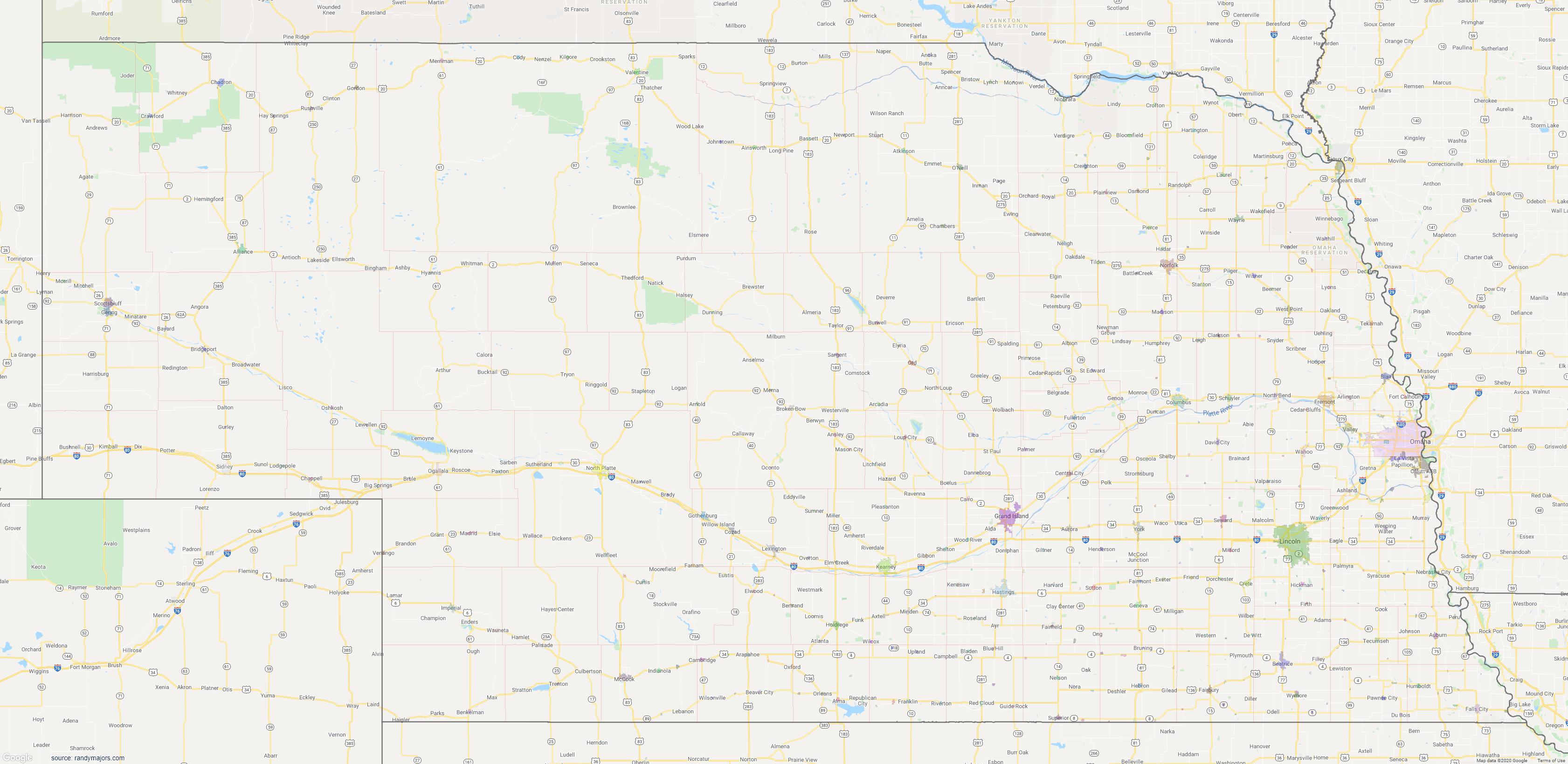 Map of Nebraska City Limits Map