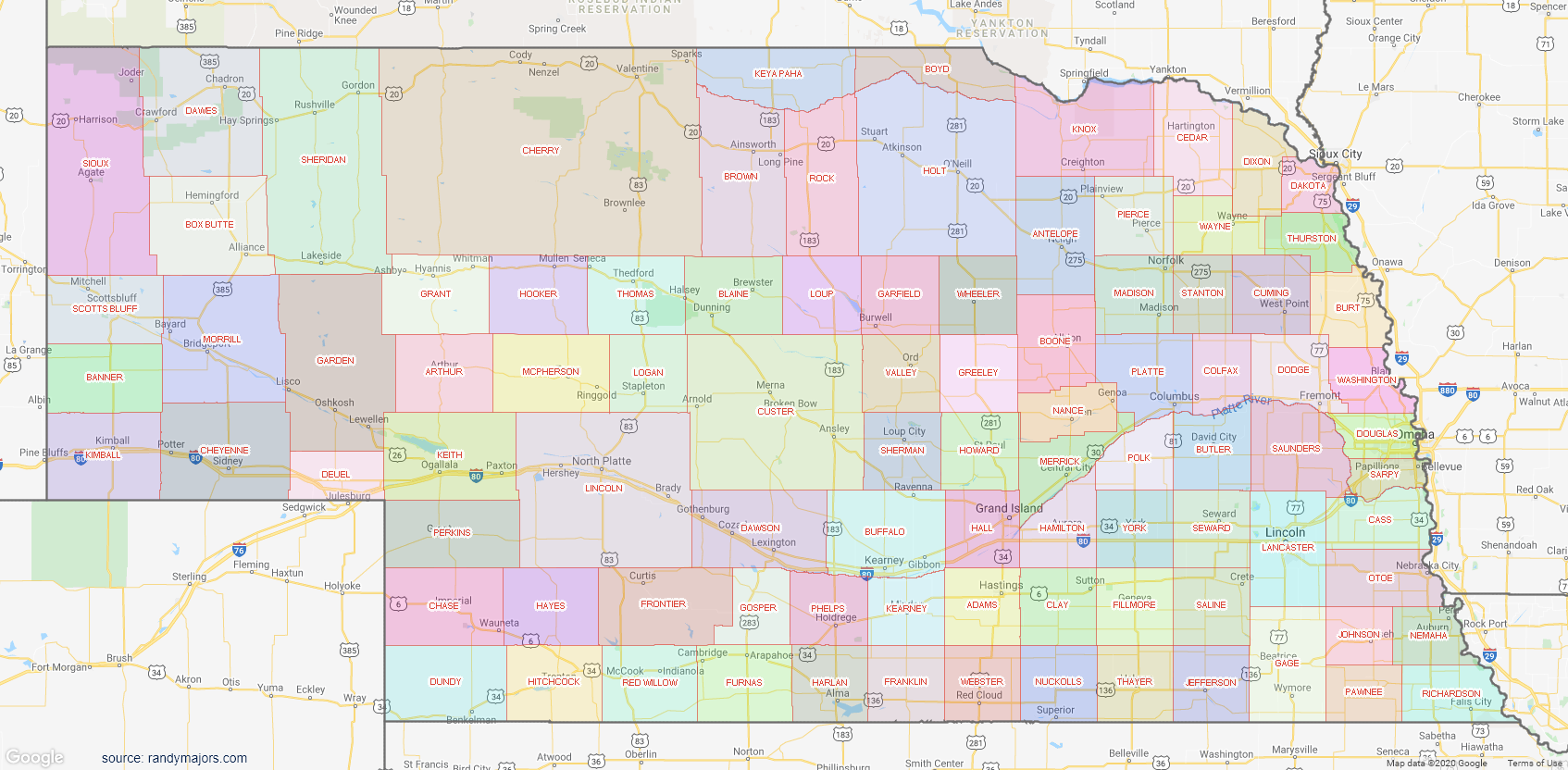 Map of Nebraska County Map