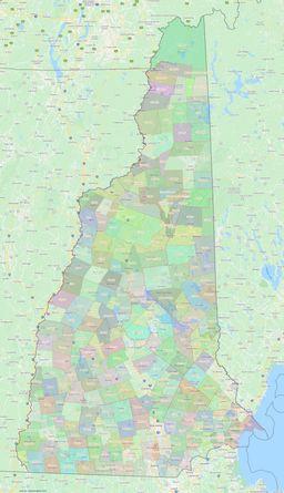 New Hampshire Civil Township Boundaries Map thumbnail