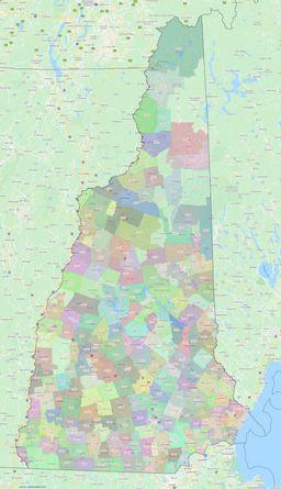 New Hampshire ZIP Codes Map thumbnail