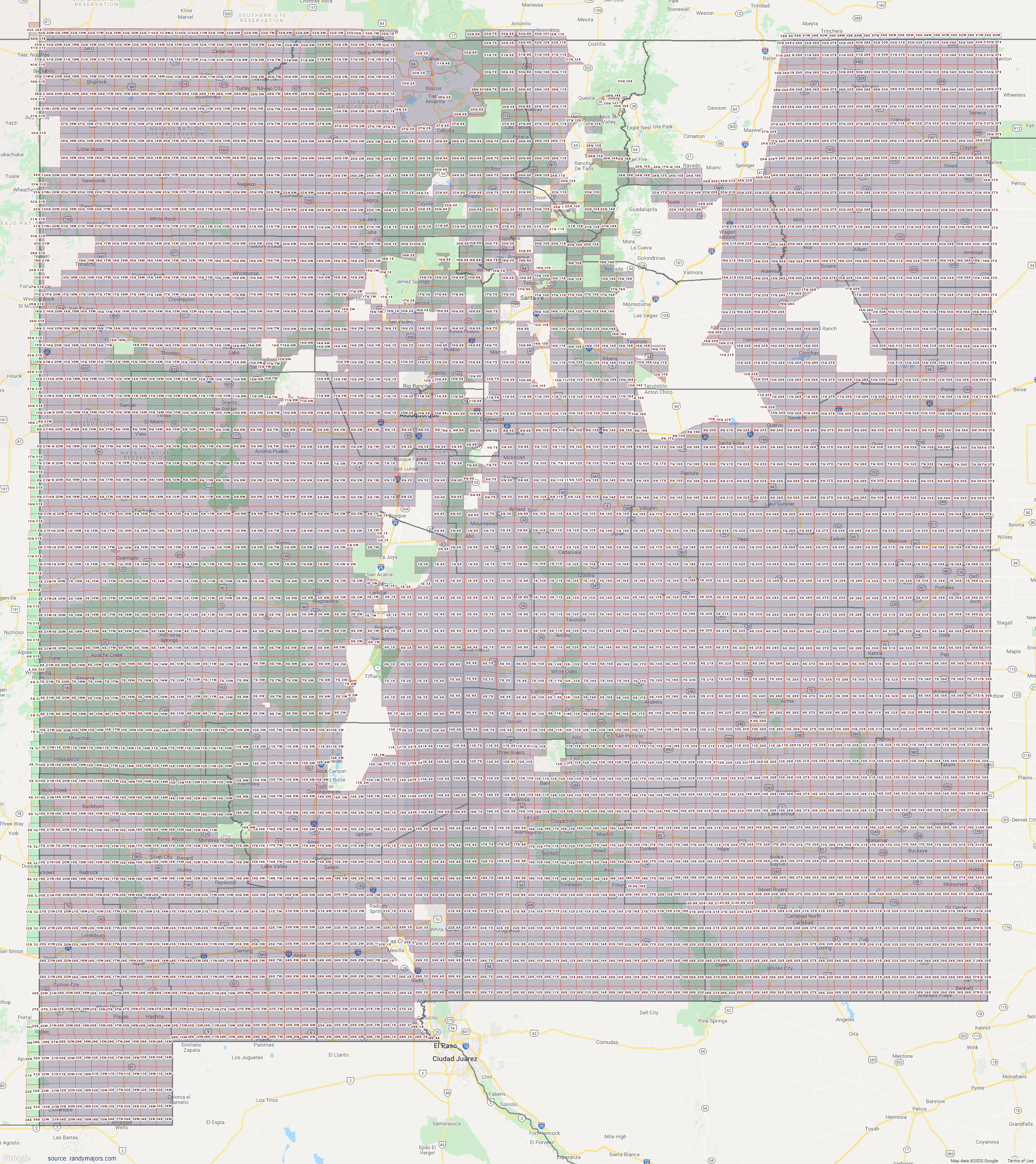 Map of New Mexico Section Township Range Map