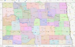 North Dakota County Lines Map thumbnail