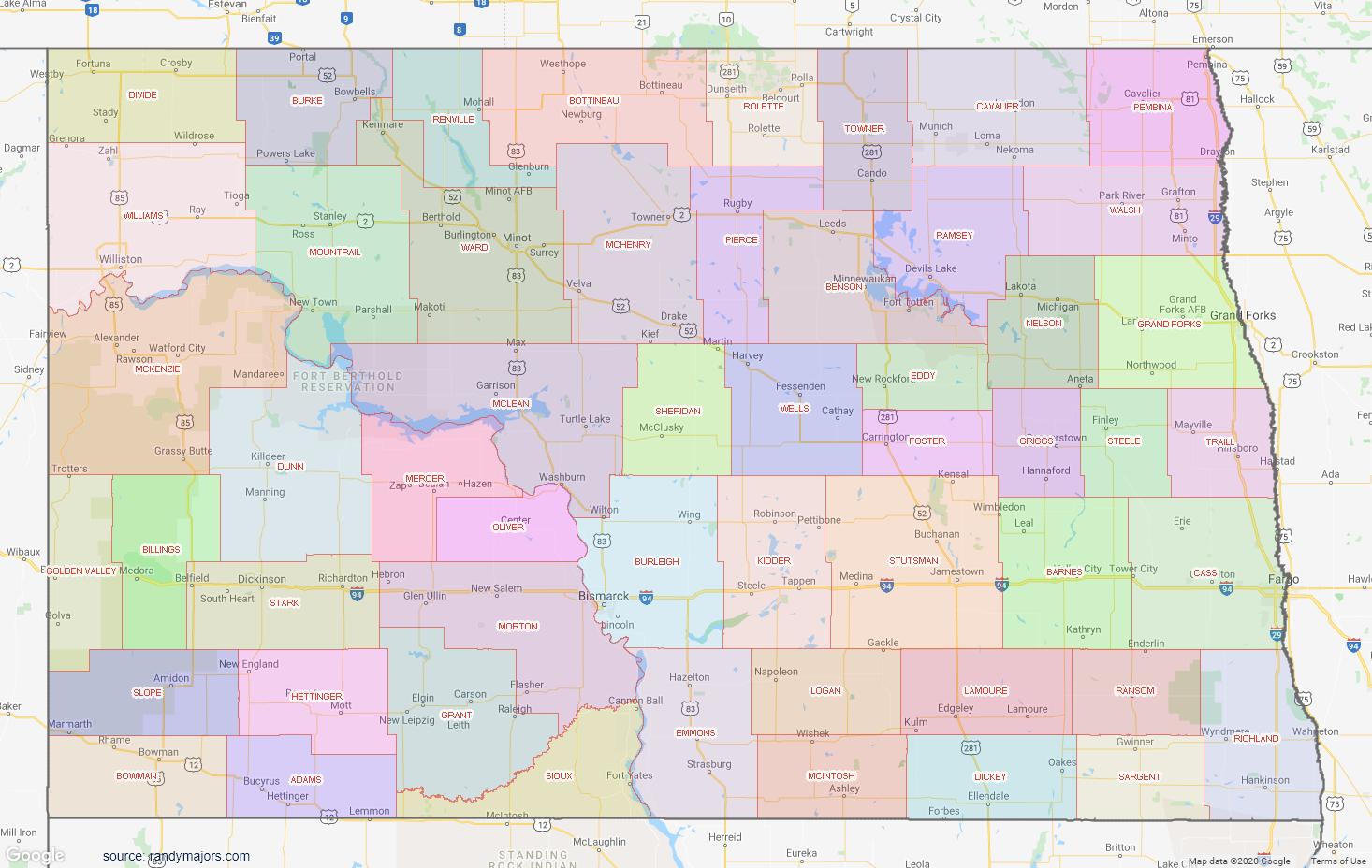 Map of North Dakota County Map