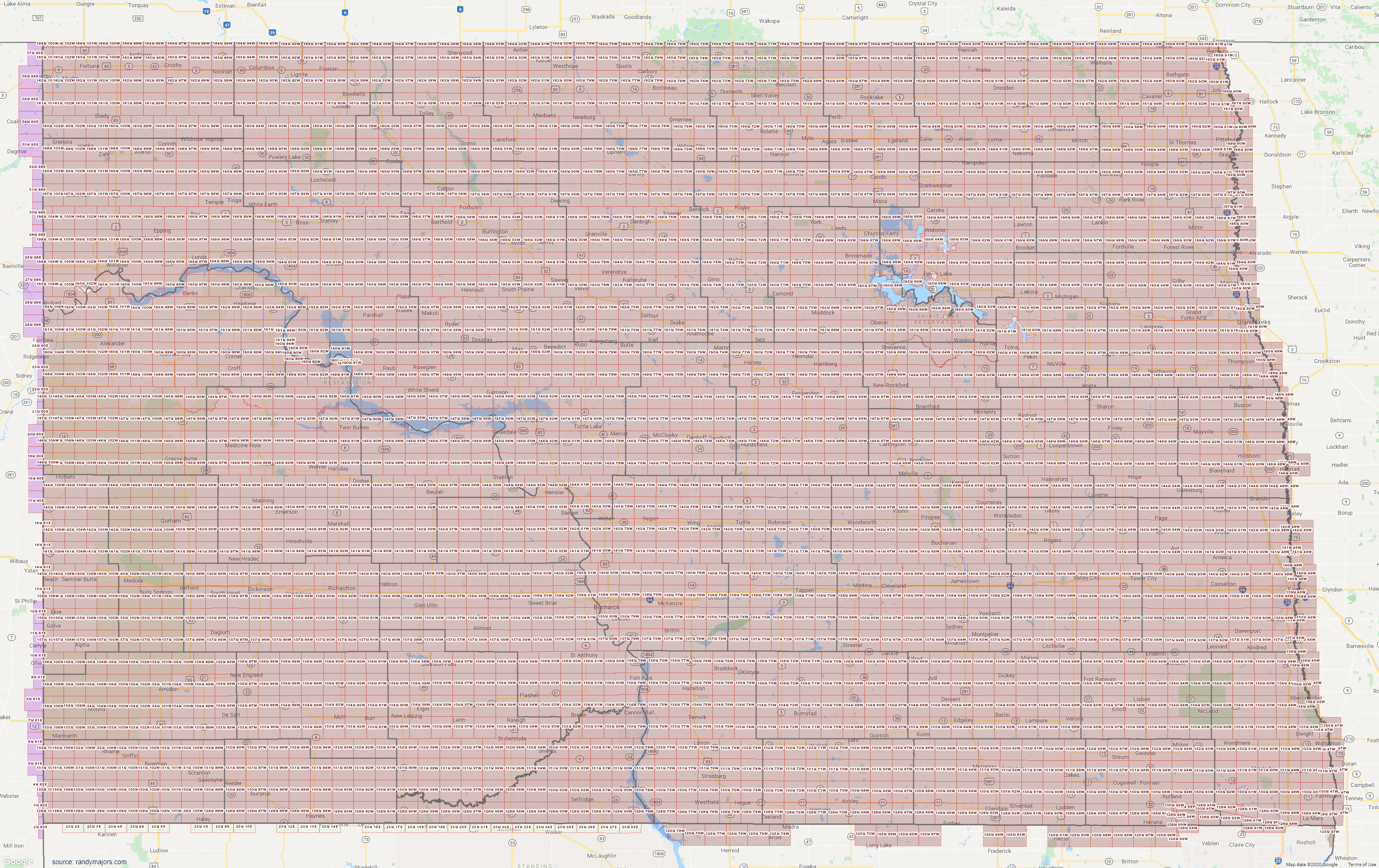 Map of North Dakota Section Township Range Map
