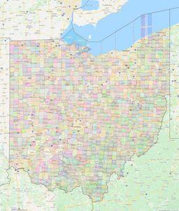 Ohio Civil Township Boundaries Map thumbnail