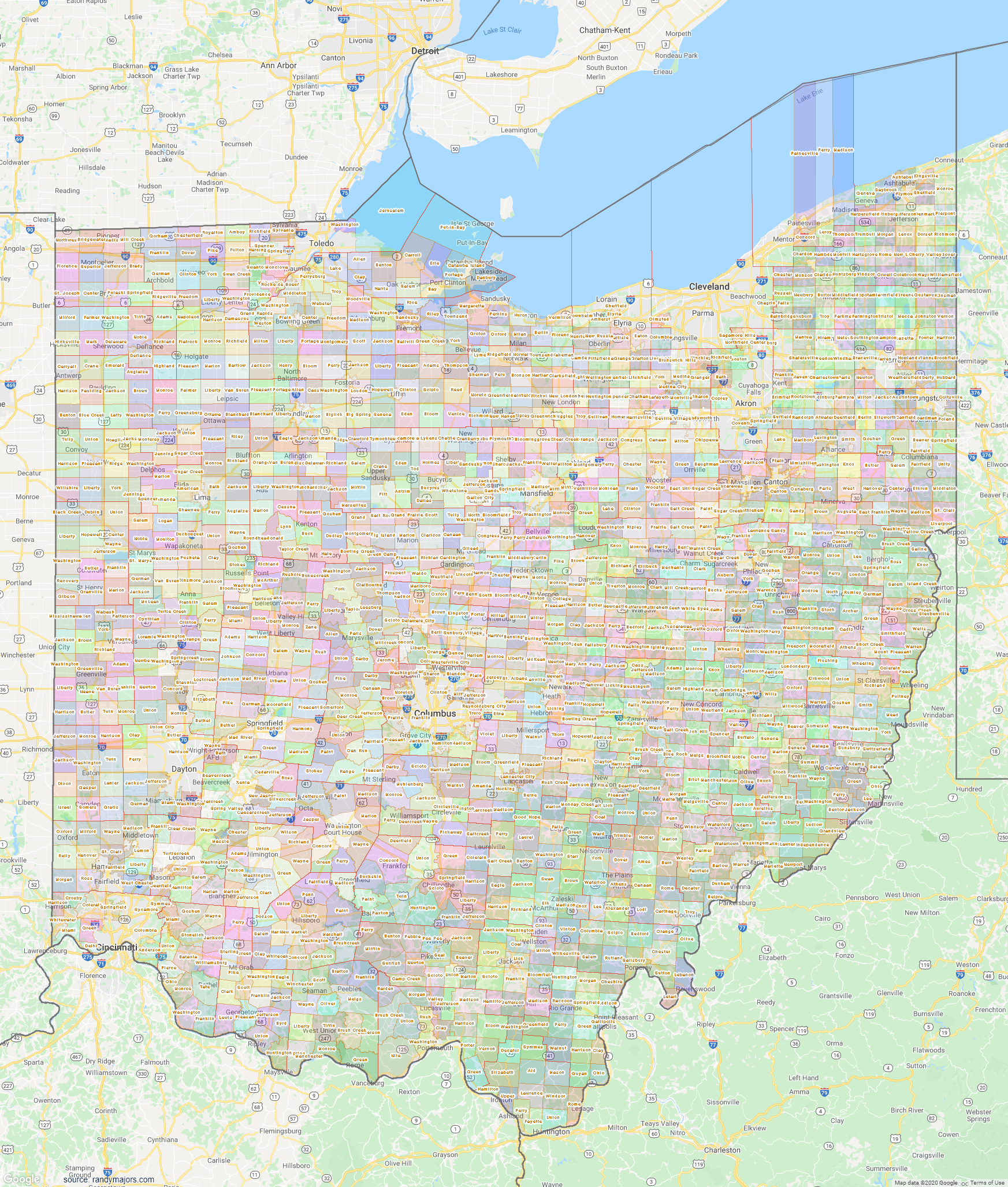 Map of Ohio Townships Map