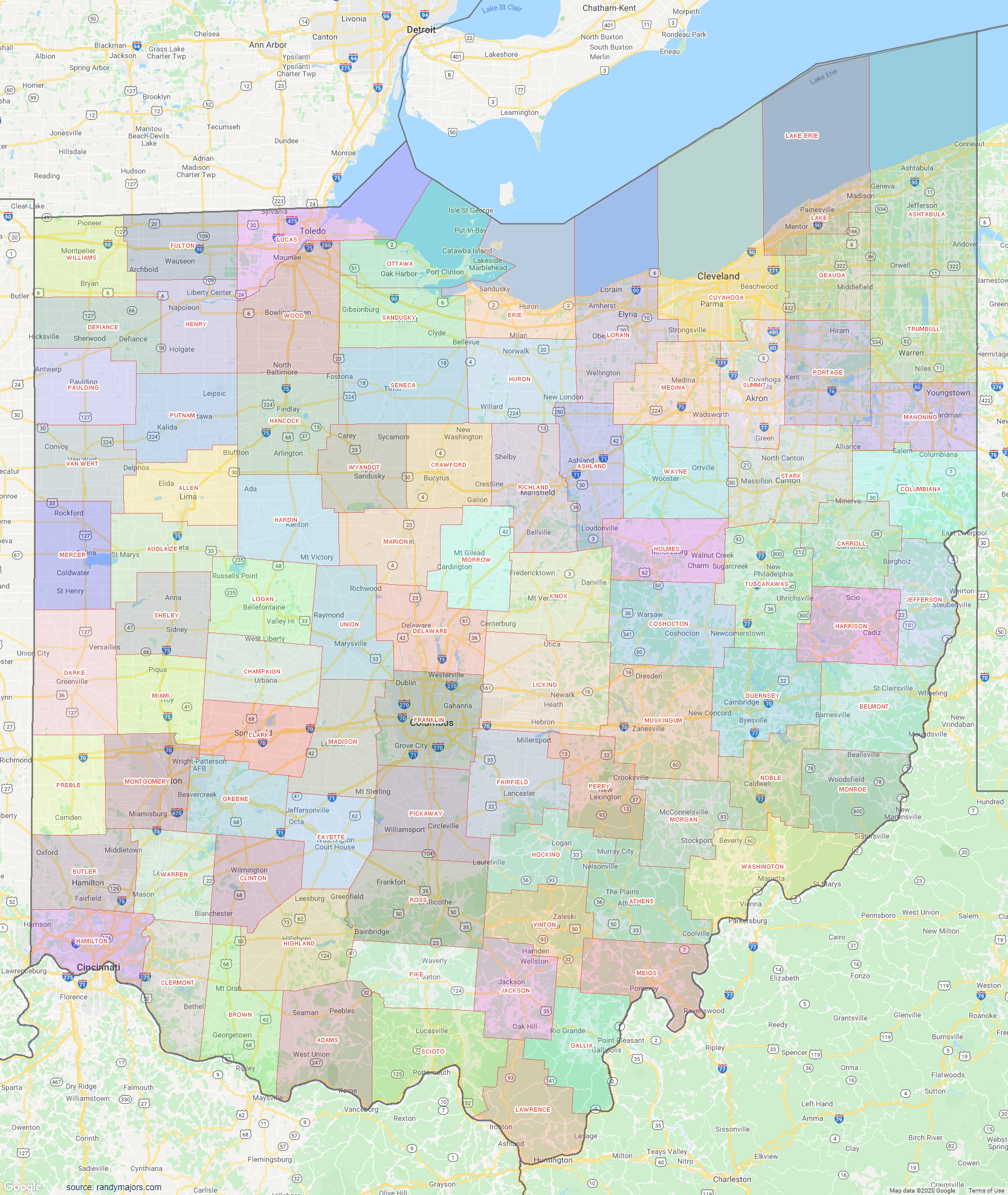 Map of Ohio County Map