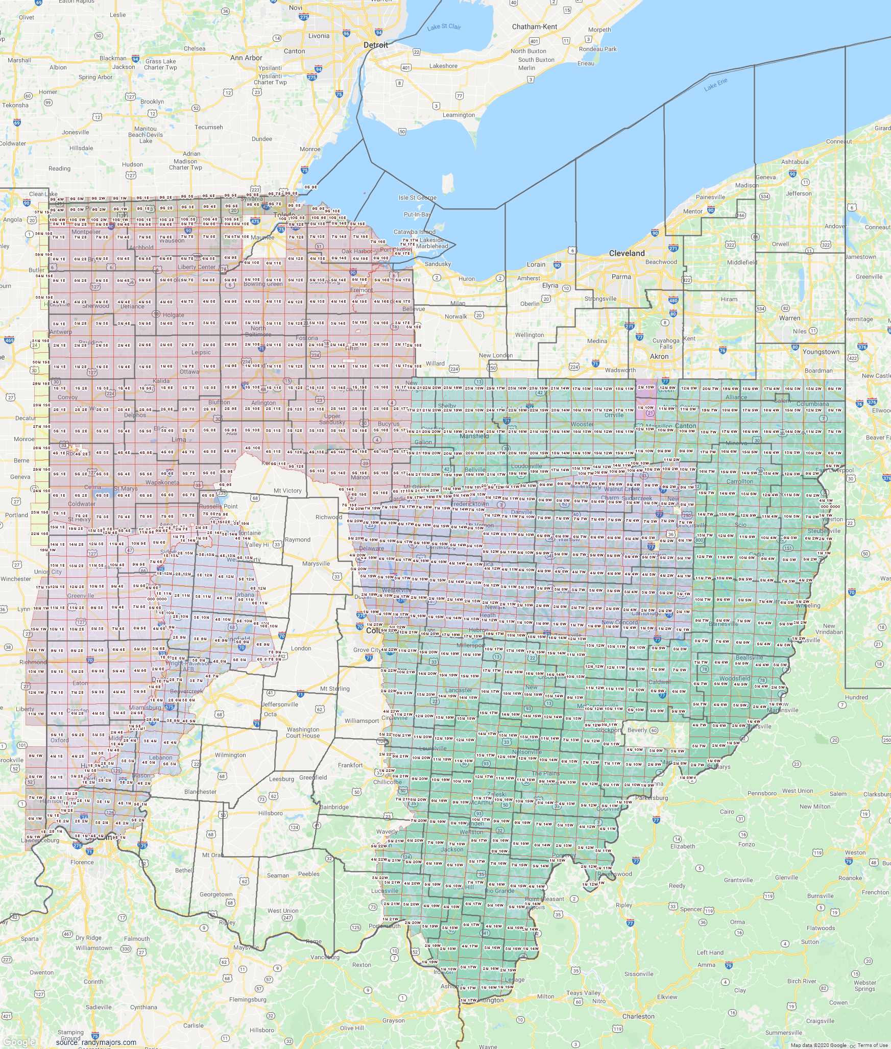 Map of Ohio Section Township Range Map