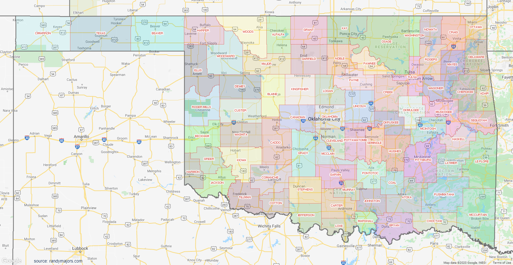 Map of Oklahoma County Map