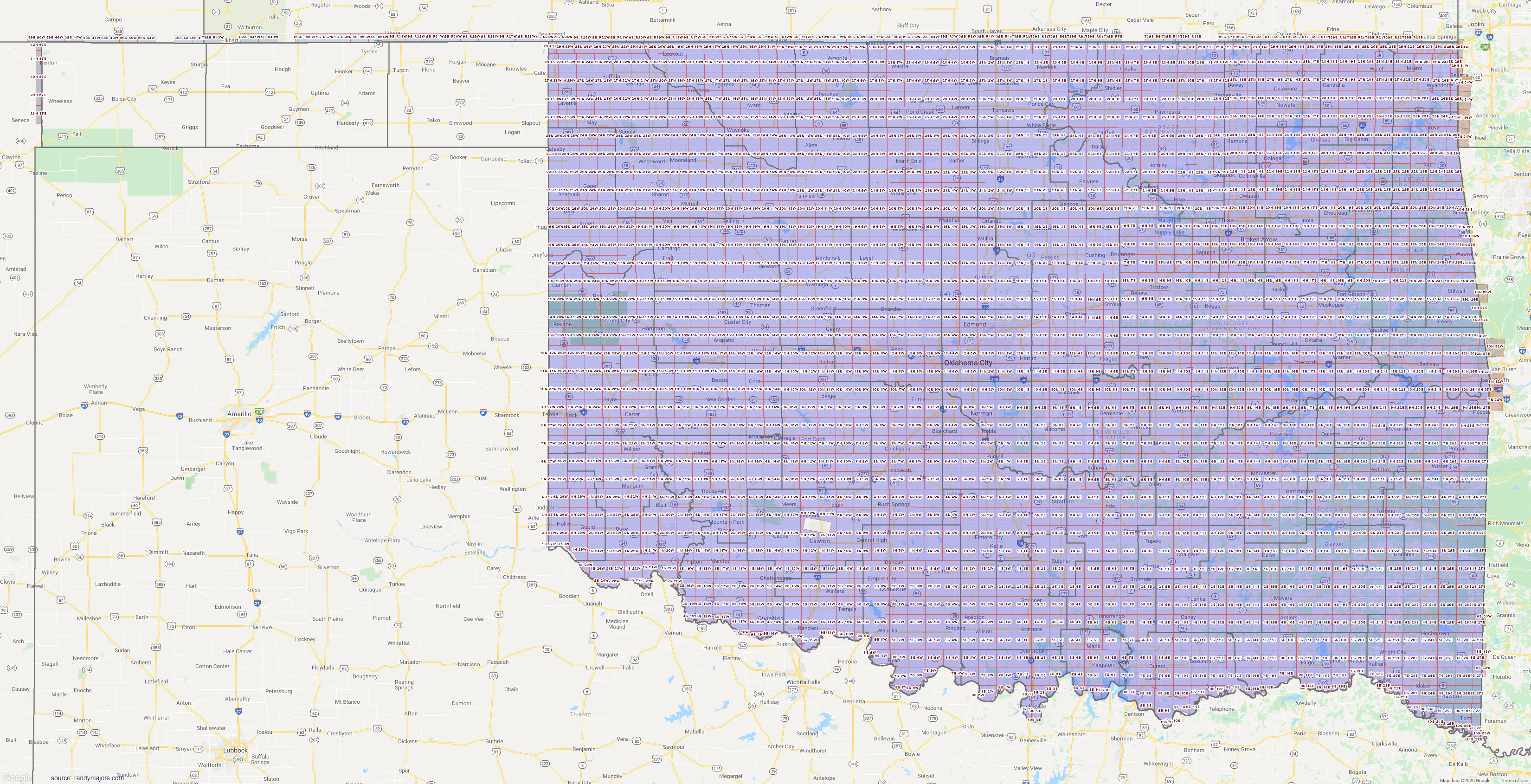 Map of Oklahoma Section Township Range Map