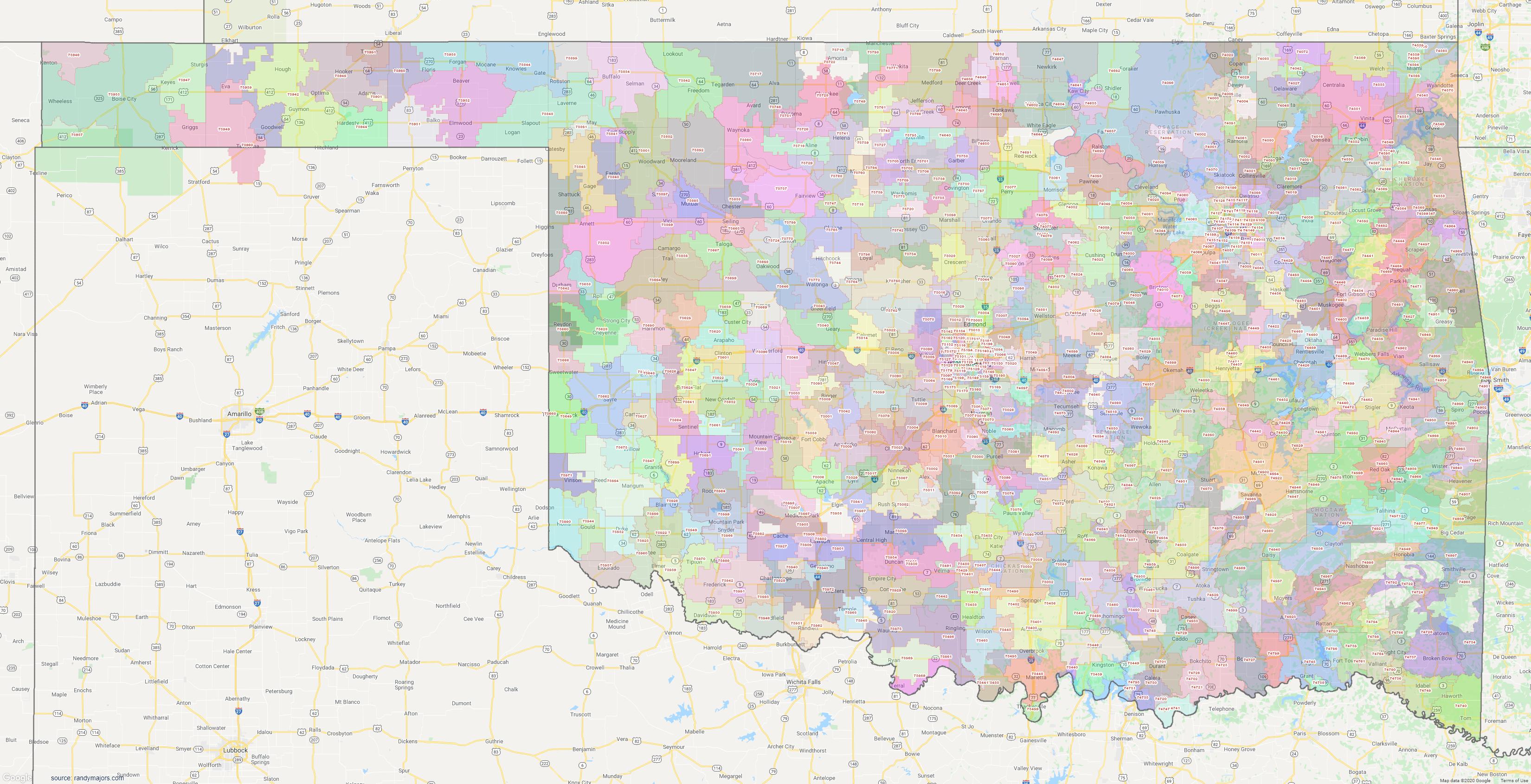 Map of Oklahoma ZIP Code Map