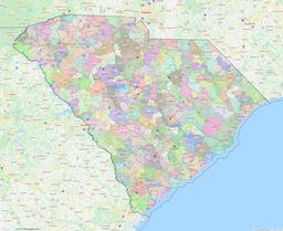 South Carolina ZIP Codes Map thumbnail