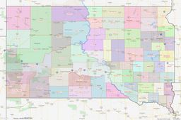 South Dakota County Lines Map thumbnail