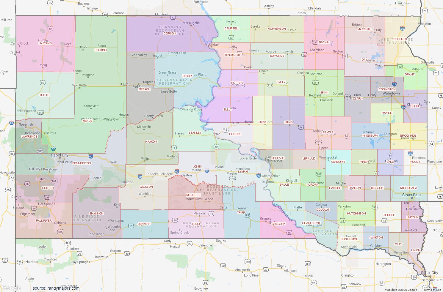 Map of South Dakota County Map