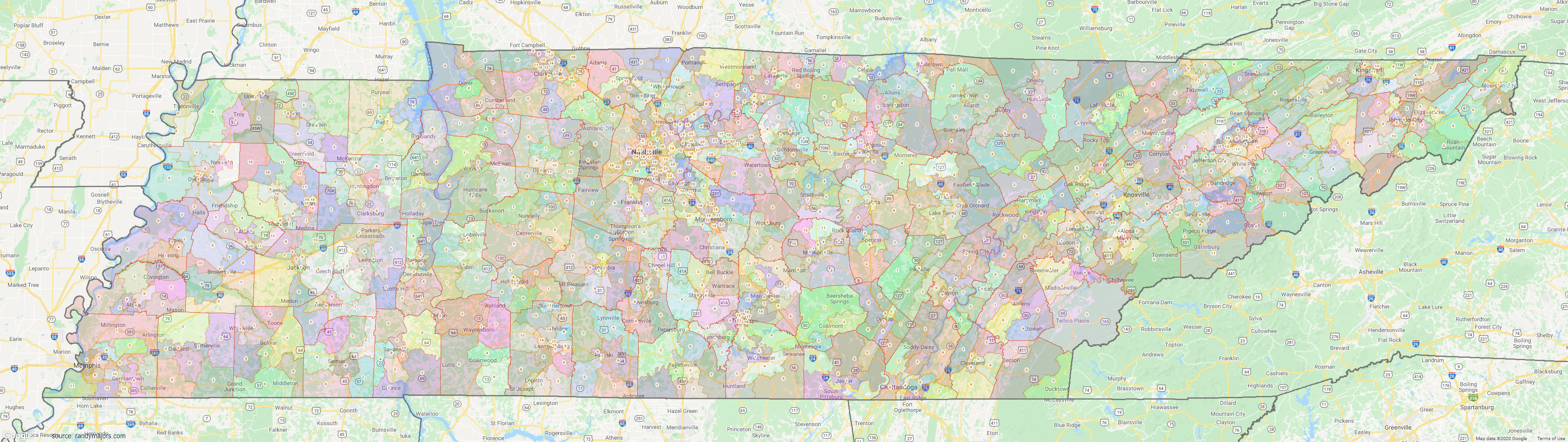 Map of Tennessee Townships Map