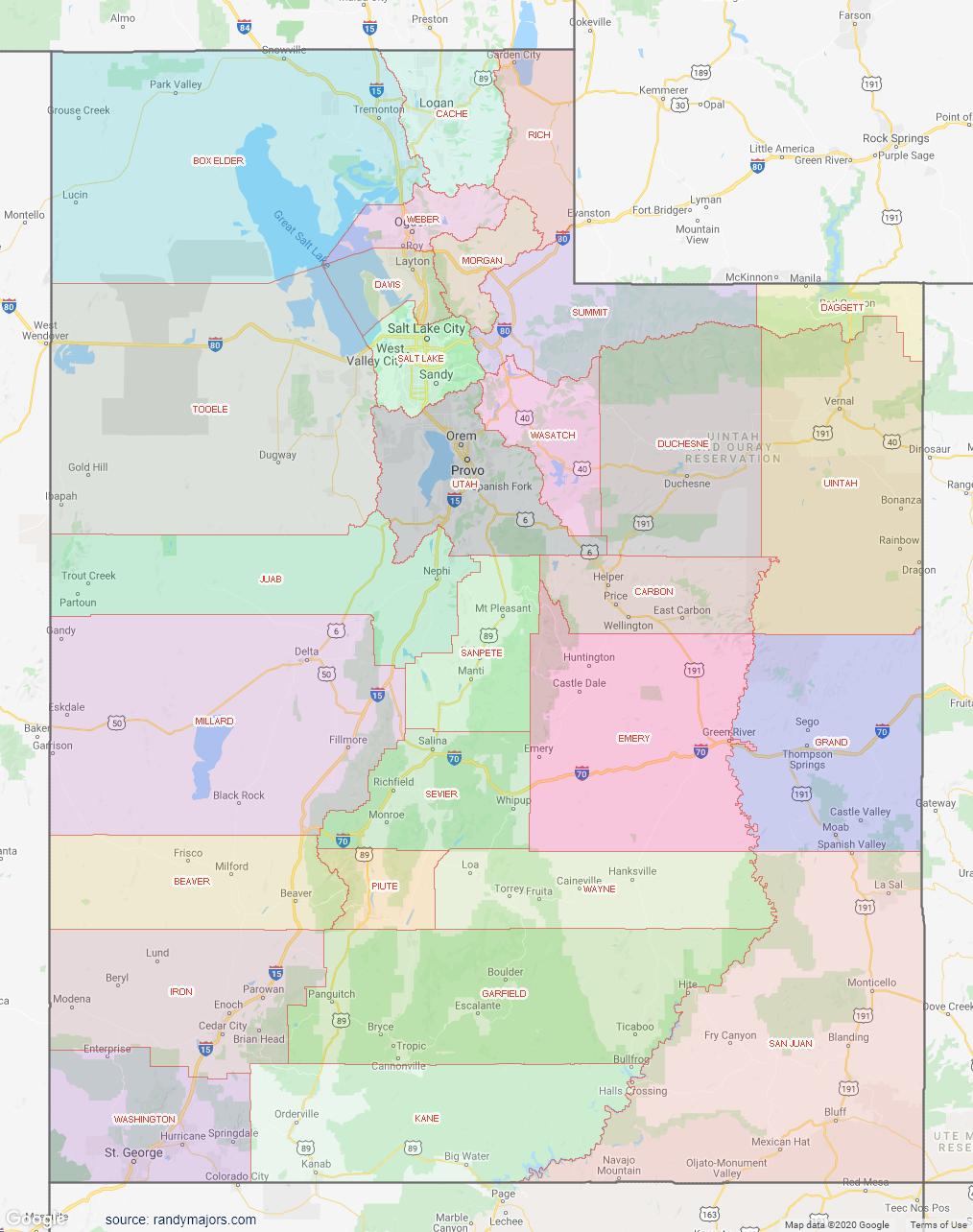 Map of Utah County Map