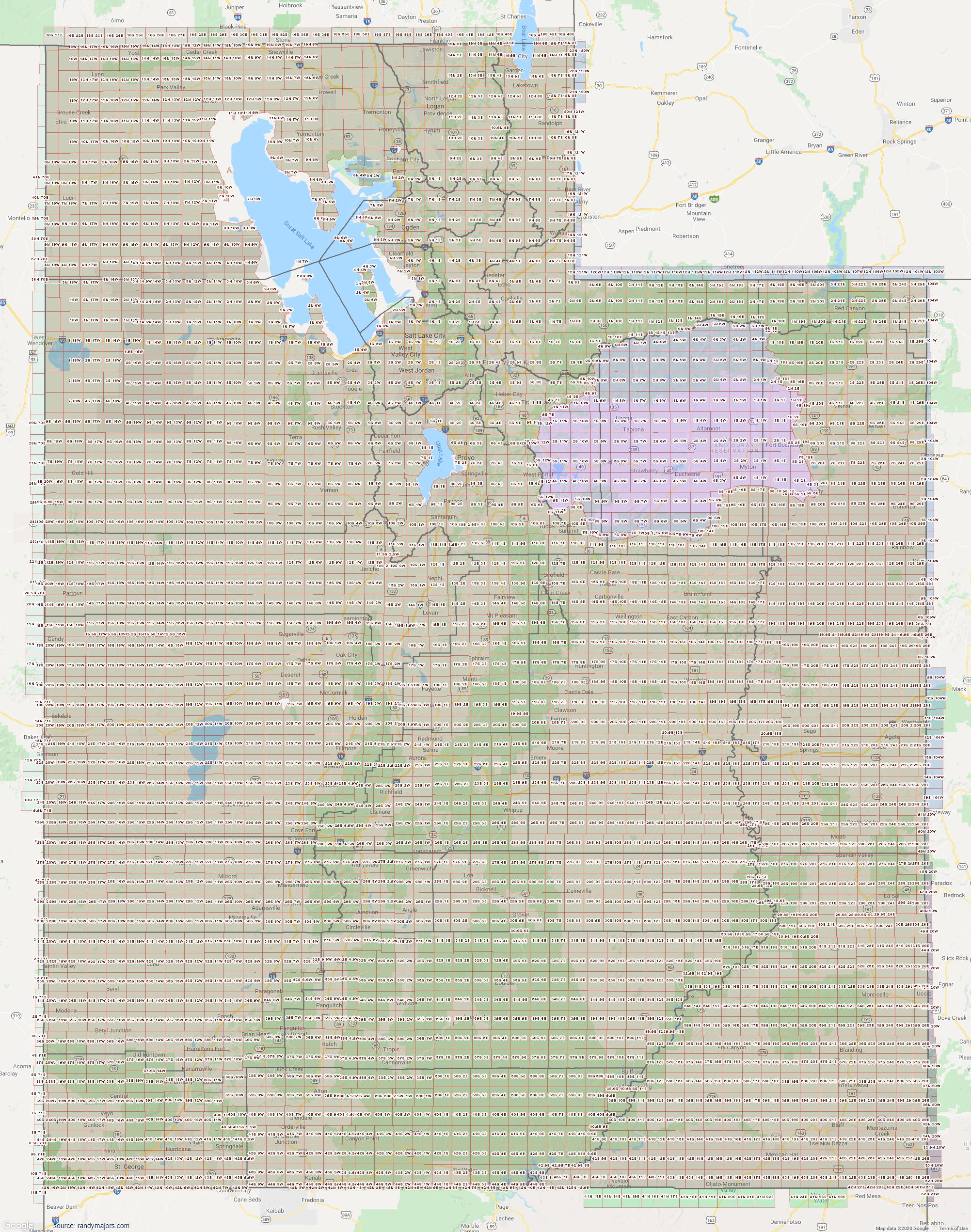 Map of Utah Section Township Range Map