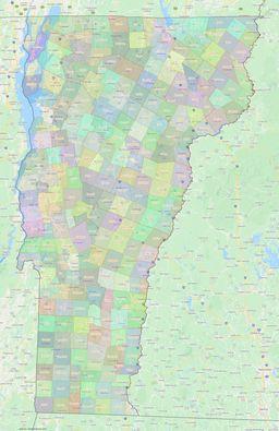 Vermont Civil Township Boundaries Map thumbnail