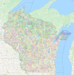 Wisconsin Civil Township Boundaries Map thumbnail