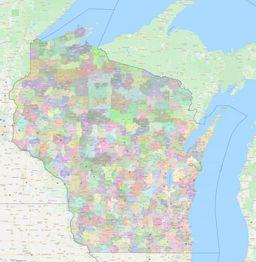 Wisconsin ZIP Codes Map thumbnail