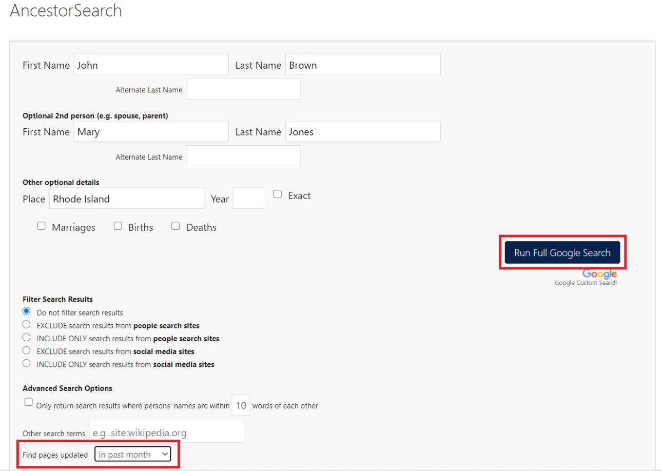 AncestorSearch  and PeopleSearch new Find pages updated dropdown
